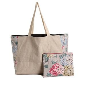 NEW Floral and Tan Canvas Tote and Accessory Pouch